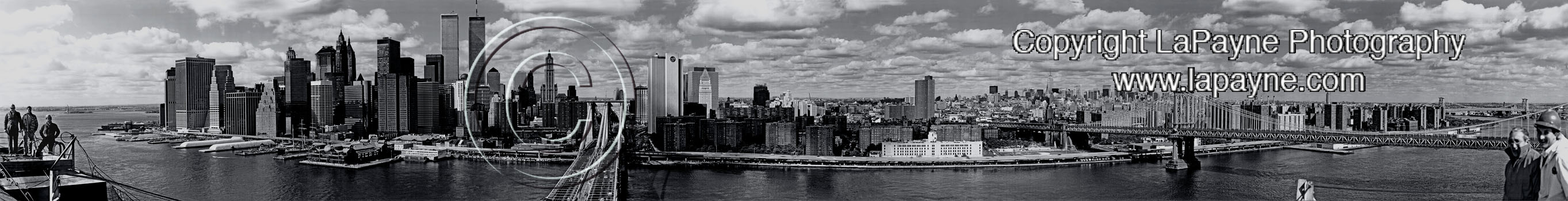 Manhattan from atop the Brooklyn Bridge - B&W